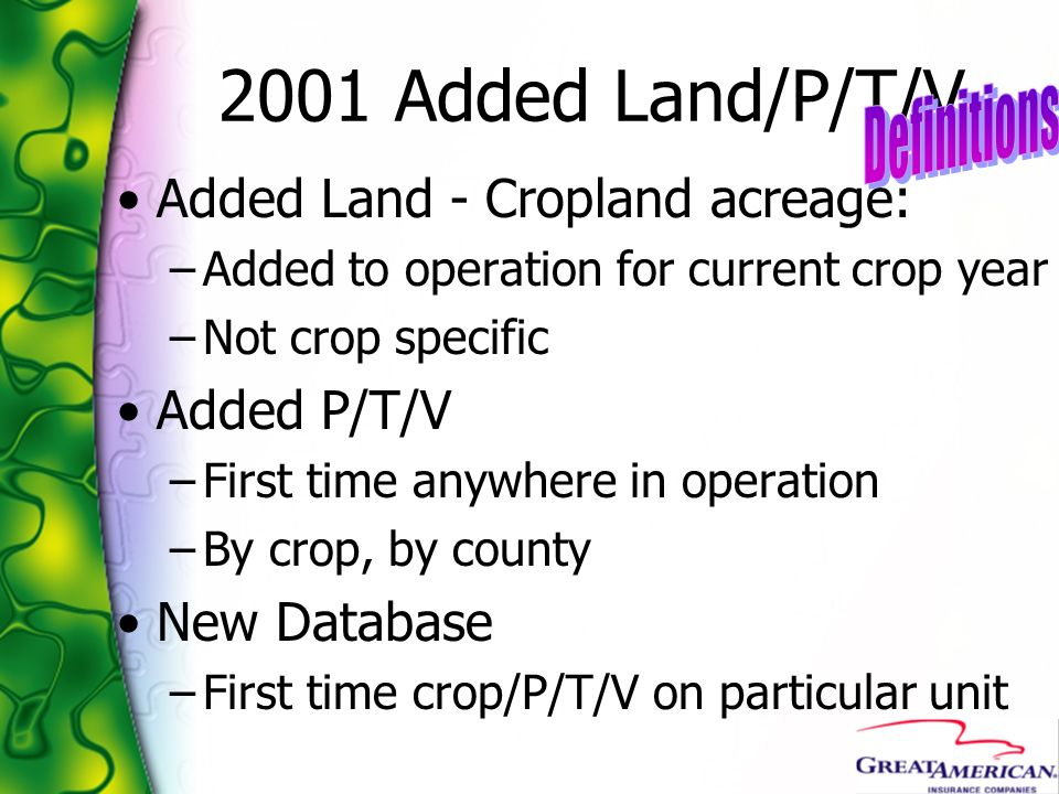 2001 Added Land/P/T/V Added Land - Cropland acreage: –Added to operation for current crop year –Not crop specific Added P/T/V –First time anywhere in