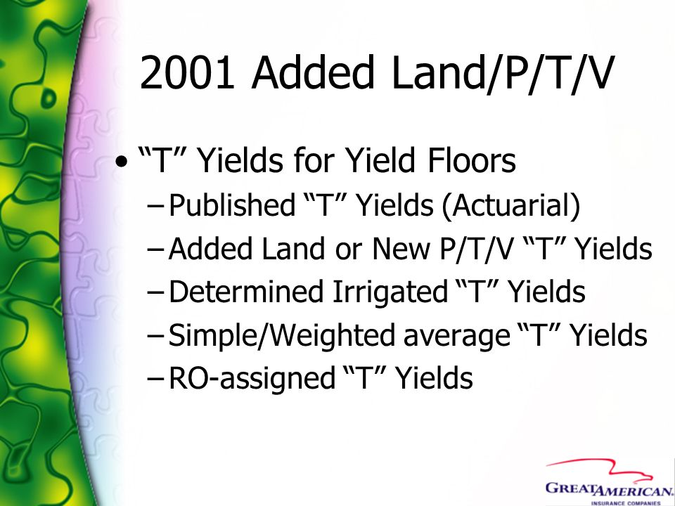 2001 Added Land/P/T/V T Yields for Yield Floors –Published T Yields (Actuarial) –Added Land or New P/T/V T Yields –Determined Irrigated T Yields –Simp
