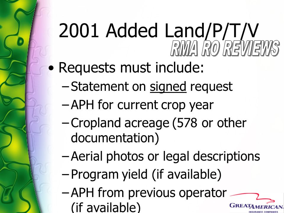 2001 Added Land/P/T/V Requests must include: –Statement on signed request –APH for current crop year –Cropland acreage (578 or other documentation) –A