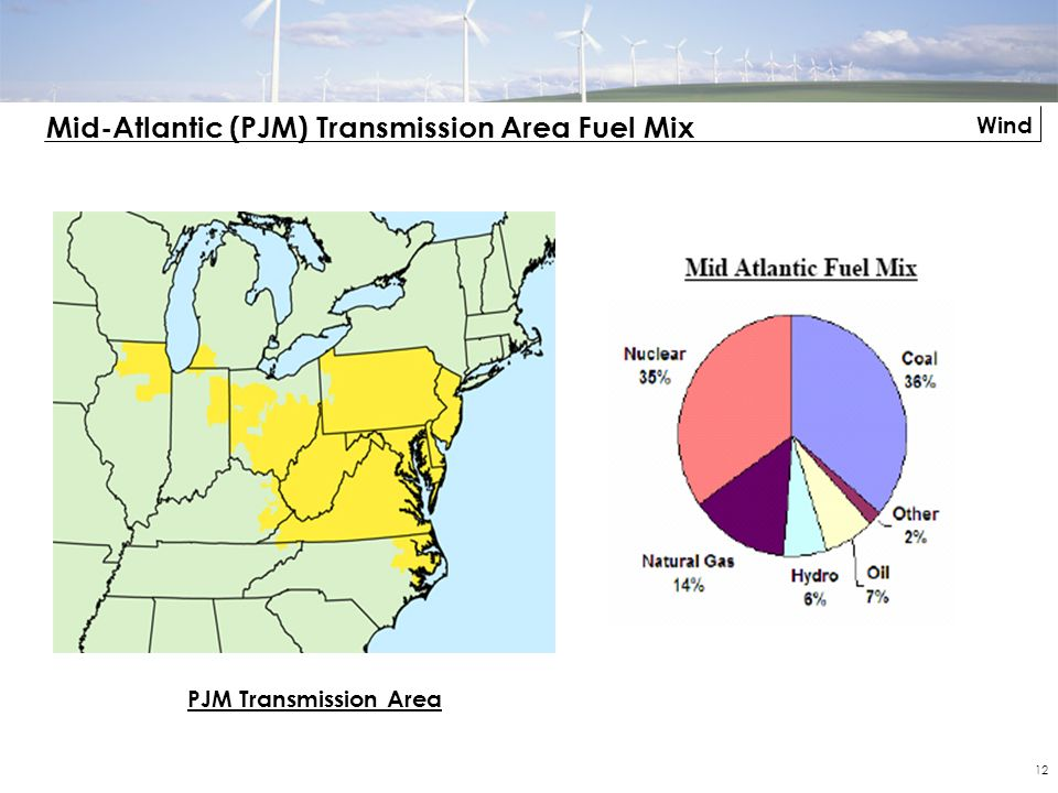 Wind 12 Mid-Atlantic (PJM) Transmission Area Fuel Mix PJM Transmission Area