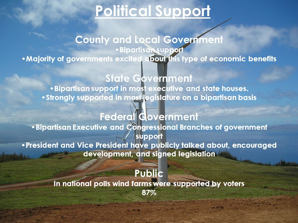Wind 15 County and Local Government Bipartisan support Majority of governments excited about this type of economic benefits State Government Bipartisa