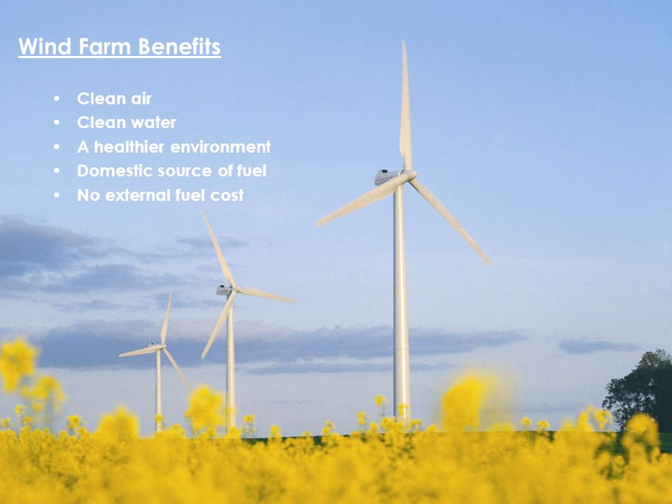 Wind Wind Farm Benefits Clean air Clean water A healthier environment Domestic source of fuel No external fuel cost