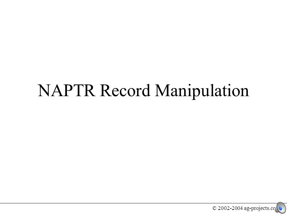 © 2002-2004 ag-projects.com Designing and implementing a mechanism to manipulate NAPTR records requires good understanding about the environment in which NAPTR lives NAPTR Records are not lonely entities, they depend on and interact with external entities The goal is to create a business model for ENUM and not build another DNS editing tool Introduction
