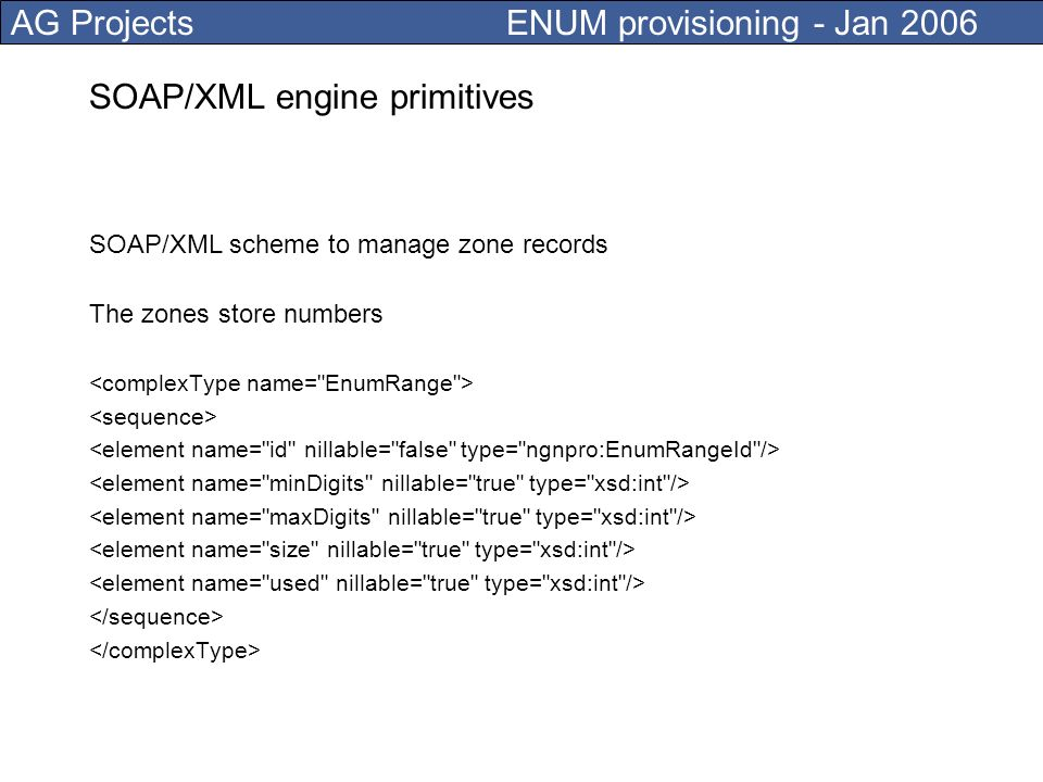 AG Projects ENUM provisioning - Jan 2006 Provisioning engine design High-availability (carrier grade) Scalability and speed (match calls per second requirements) Interoperability (standardized NAPTR record formats) Retrieval of data from external sources Capacity planning and capacity management Auditing, version control Disaster recovery plan What is an ENUM system actually.