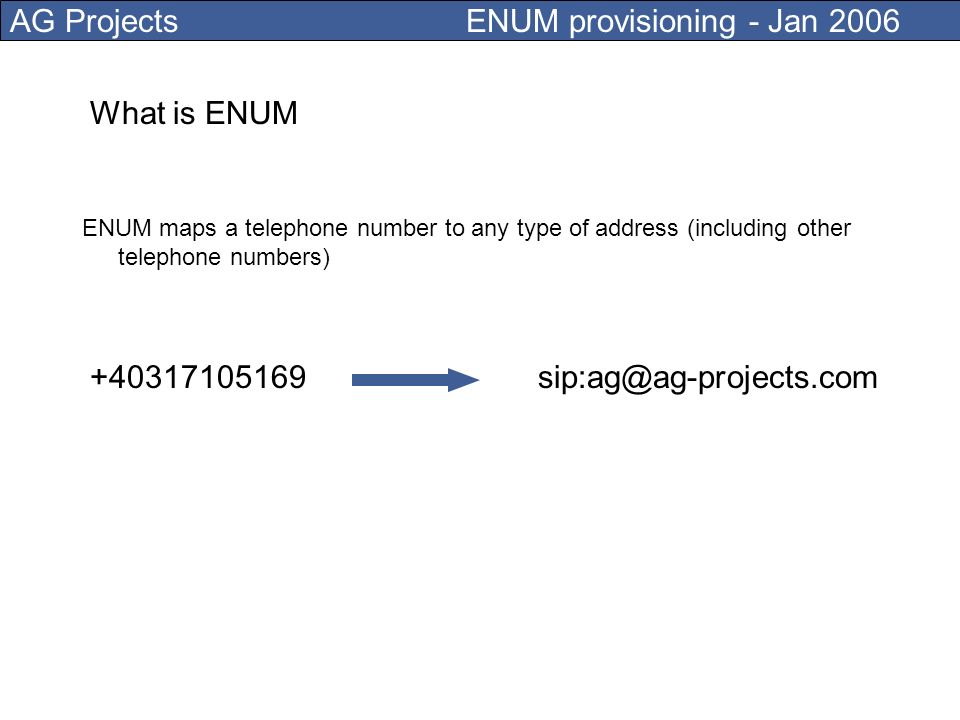 AG Projects ENUM provisioning - Jan 2006 ENUM provisioning systems