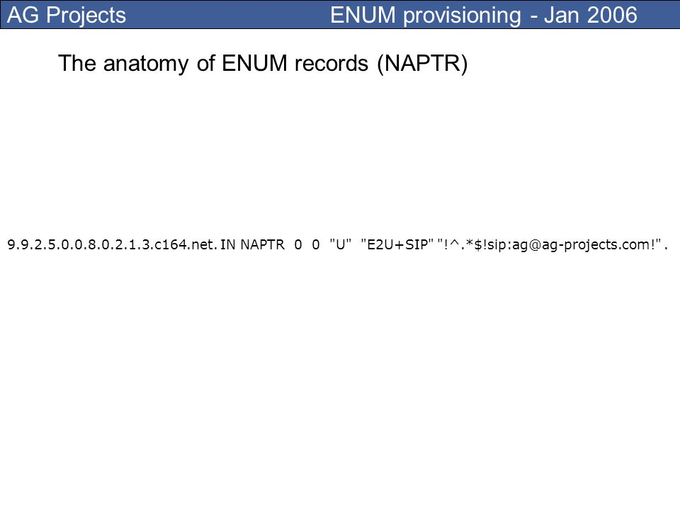 AG Projects ENUM provisioning - Jan 2006 ENUM provisioning tasks Registration of ENUM domains in Tier 1 (example for +31: 1.3.e164.arpa) Management of NAPTR records in Tier 2 (+3120 Amsterdam) ENUM is based on DNS (NAPTR records) ENUM is a multi-tier model where Tier0/1 is the registry Tier 2 is the working horse of ENUM