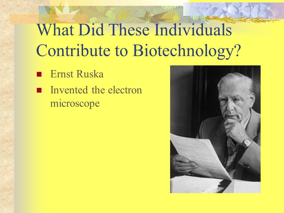 What Did These Individuals Contribute to Biotechnology? Ernst Ruska Invented the electron microscope