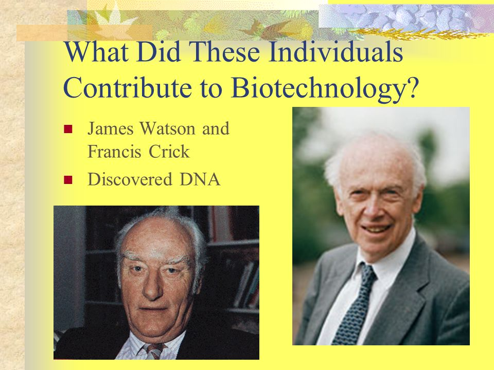 What Did These Individuals Contribute to Biotechnology? James Watson and Francis Crick Discovered DNA