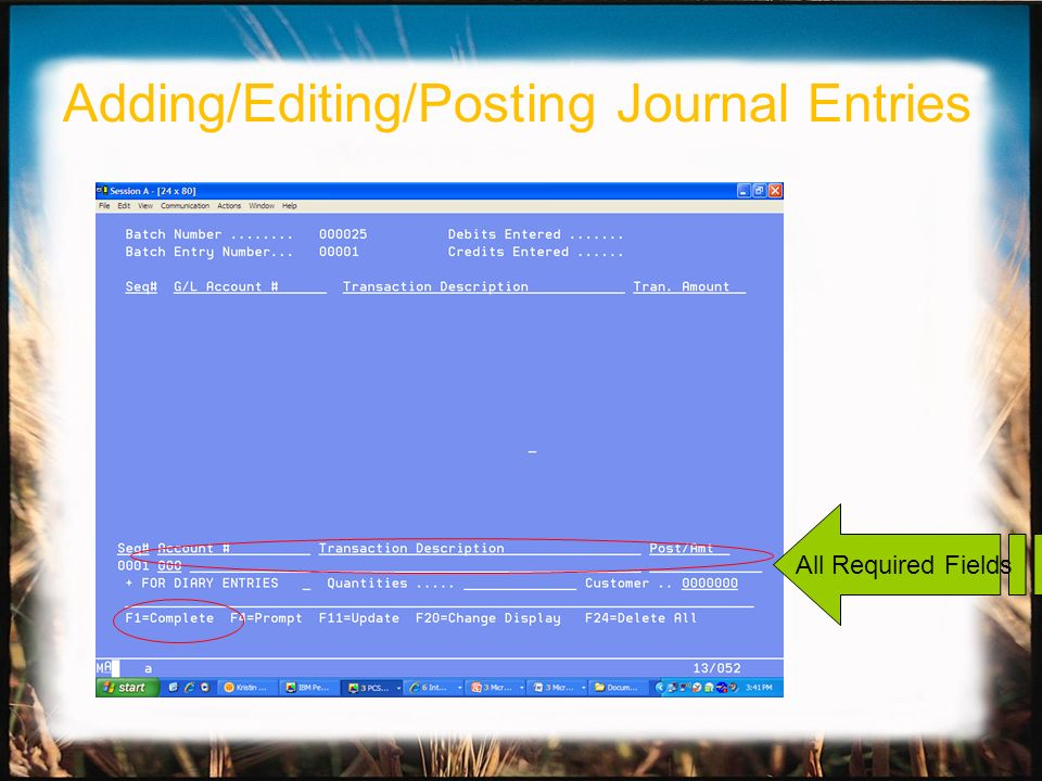 All Required Fields Adding/Editing/Posting Journal Entries