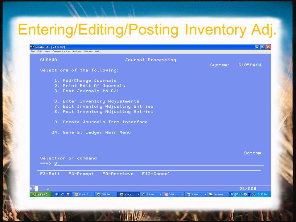 Entering/Editing/Posting Inventory Adj.