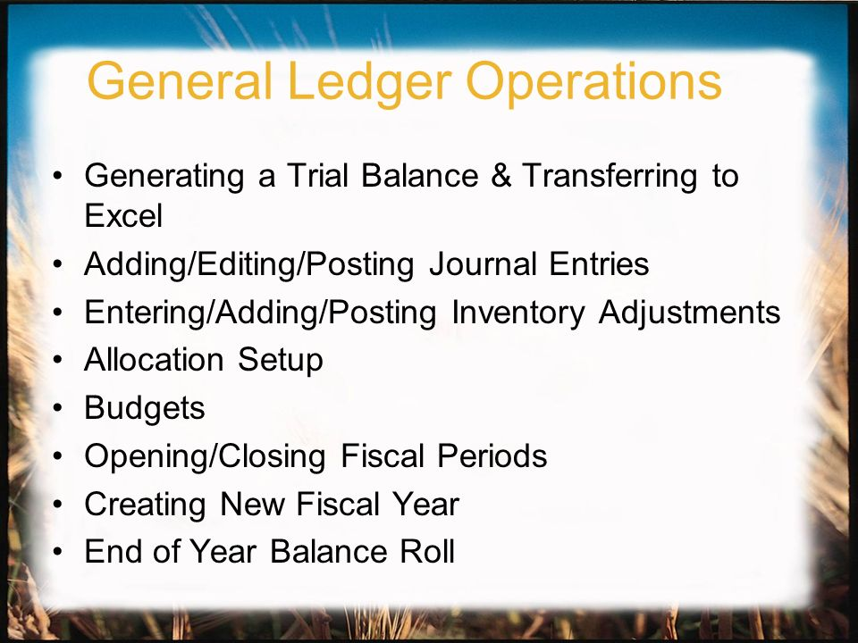 General Ledger Operations Generating a Trial Balance & Transferring to Excel Adding/Editing/Posting Journal Entries Entering/Adding/Posting Inventory