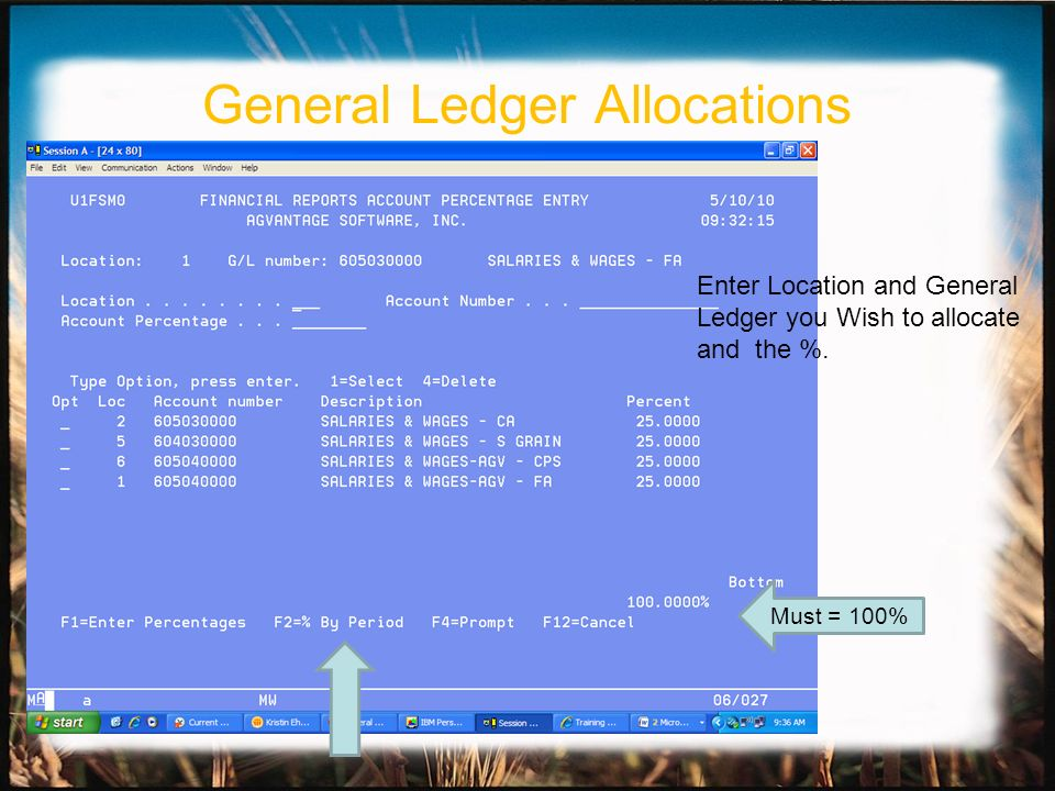 Enter Location and General Ledger you Wish to allocate and the %.