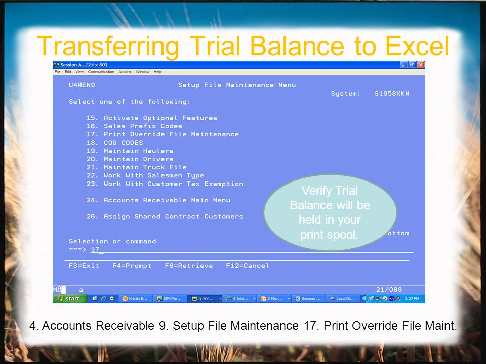 Transferring Trial Balance to Excel Verify Trial Balance will be held in your print spool. 4. Accounts Receivable 9. Setup File Maintenance 17. Print