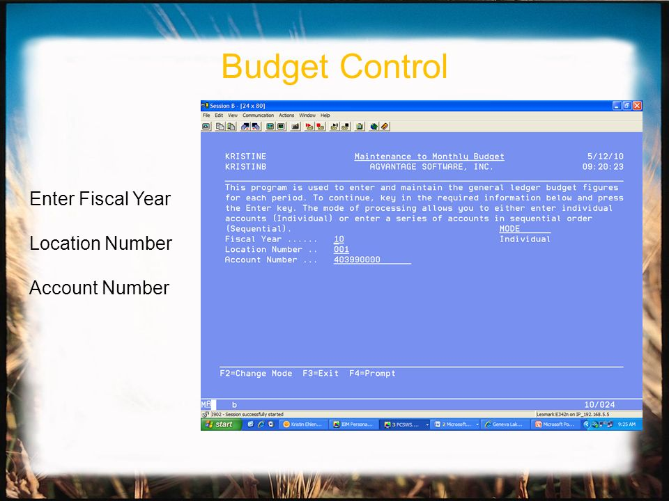 Enter Fiscal Year Location Number Account Number Budget Control