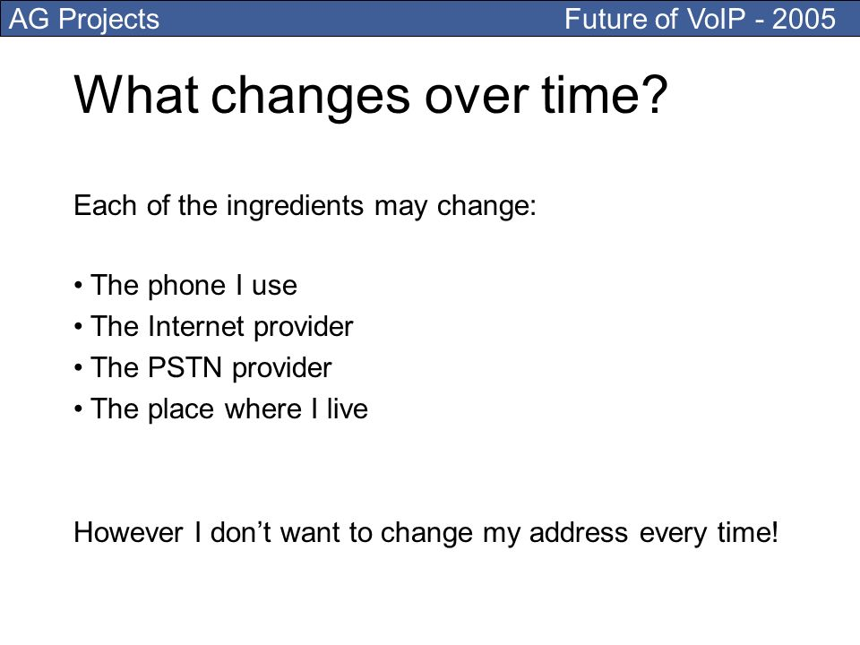 AG Projects Future of VoIP - 2005 What changes over time.