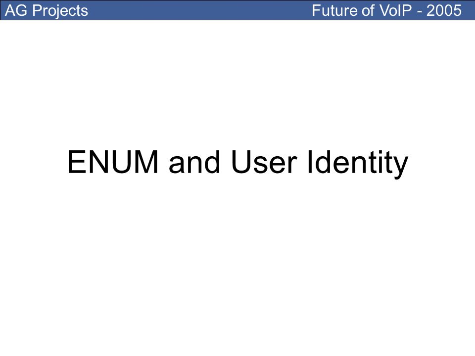 AG Projects Future of VoIP - 2005 ENUM and User Identity
