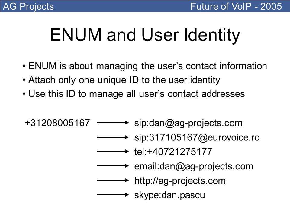 AG Projects Future of VoIP - 2005 ENUM is about managing the users contact information Attach only one unique ID to the user identity Use this ID to manage all users contact addresses ENUM and User Identity +31208005167sip:dan@ag-projects.com sip:317105167@eurovoice.ro tel:+40721275177 email:dan@ag-projects.com http://ag-projects.com skype:dan.pascu