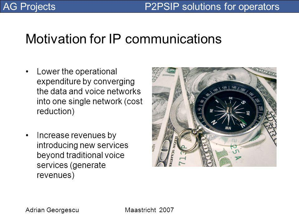 AG Projects P2PSIP solutions for operators Adrian GeorgescuMaastricht 2007 IMS, the NGN solution for mobile networks IMS initially developed by 3GPP to replace the mobile networks Based on an operator controlled, walled-garden Internet Based on the SIP protocol developed within IETF Internet protocols have been chosen for their efficiency while trying to maintain a closed network