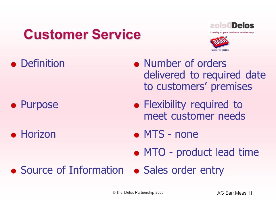 AG Barr Meas 11 © The Delos Partnership 2003 Customer Service Definition Purpose Horizon Source of Information Number of orders delivered to required date to customers premises Flexibility required to meet customer needs MTS - none MTO - product lead time Sales order entry