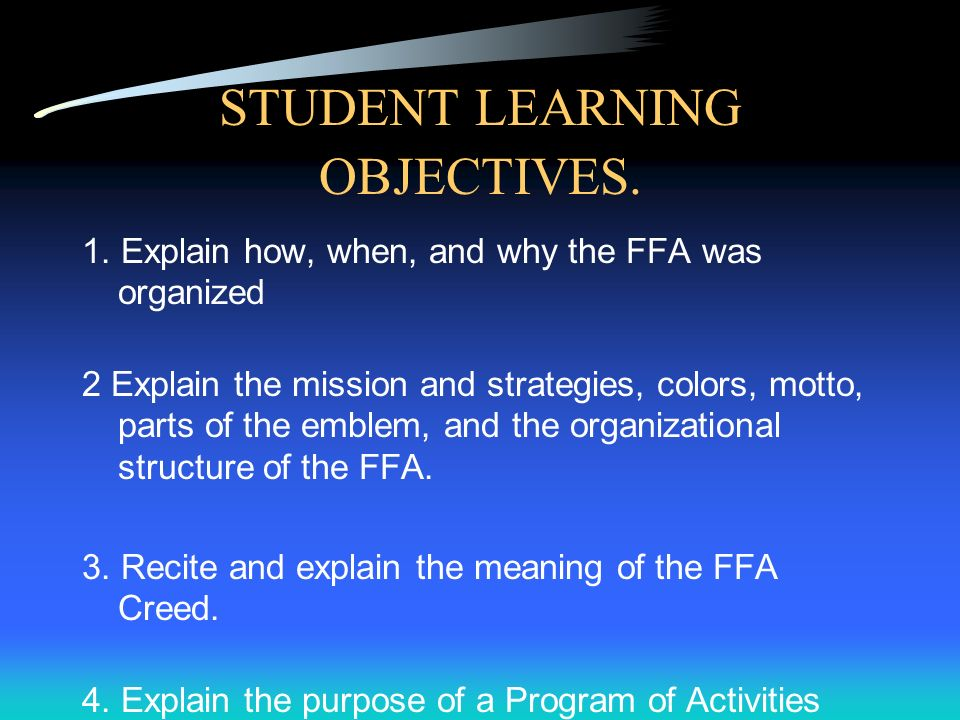 FFA History Introduction to Agriculture