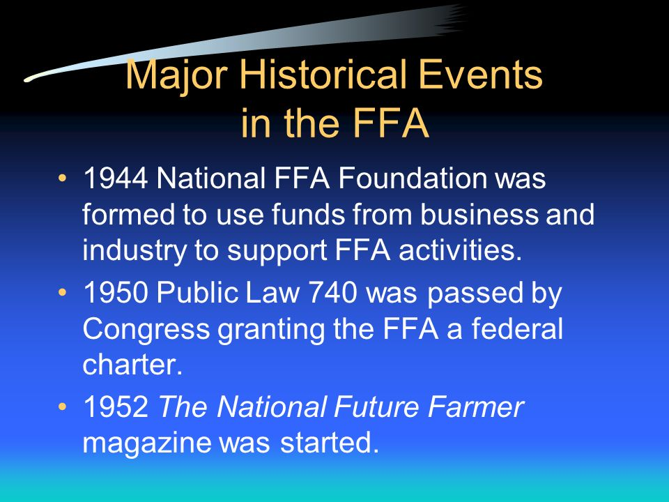 Major Historical Events in the FFA 1928 Future Farmers of America was established in Kansas City, Missouri.
