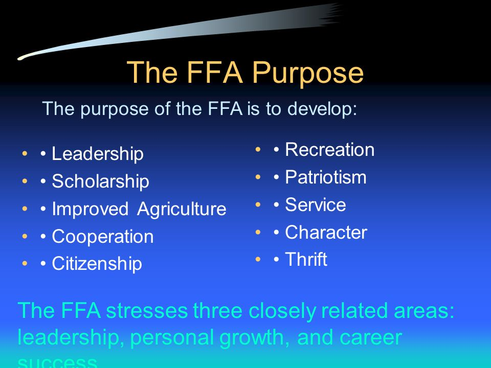 Major Historical Events in the FFA 1971 National FFA Alumni Association was formed. 1988 Name of the organization was changed to National FFA Organiza