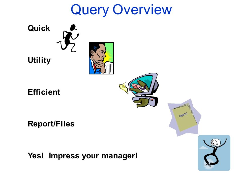 Query Overview Quick Utility Efficient Report/Files Yes! Impress your manager!