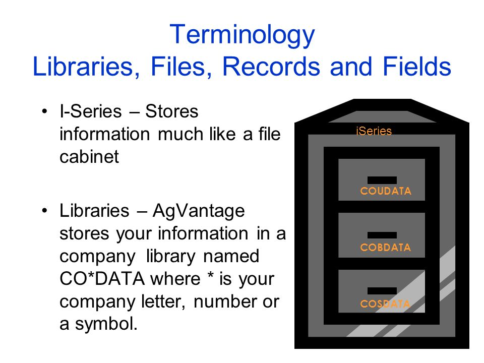 Terminology Libraries, Files, Records and Fields I-Series – Stores information much like a file cabinet Libraries – AgVantage stores your information in a company library named CO*DATA where * is your company letter, number or a symbol.
