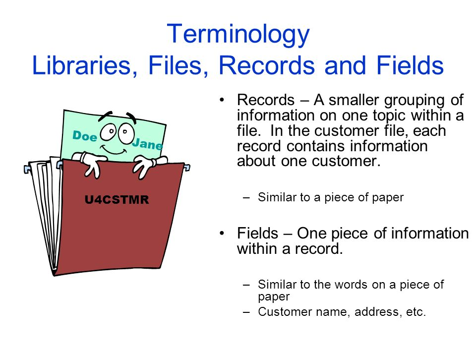 Terminology Libraries, Files, Records and Fields Records – A smaller grouping of information on one topic within a file. In the customer file, each re