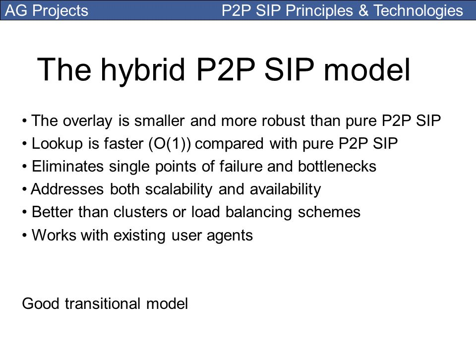 AG Projects P2P SIP Principles & Technologies The hybrid P2P SIP model The overlay is smaller and more robust than pure P2P SIP Lookup is faster (O(1)