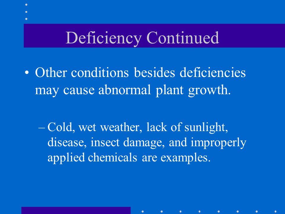 Deficiency Continued Other conditions besides deficiencies may cause abnormal plant growth. –Cold, wet weather, lack of sunlight, disease, insect dama