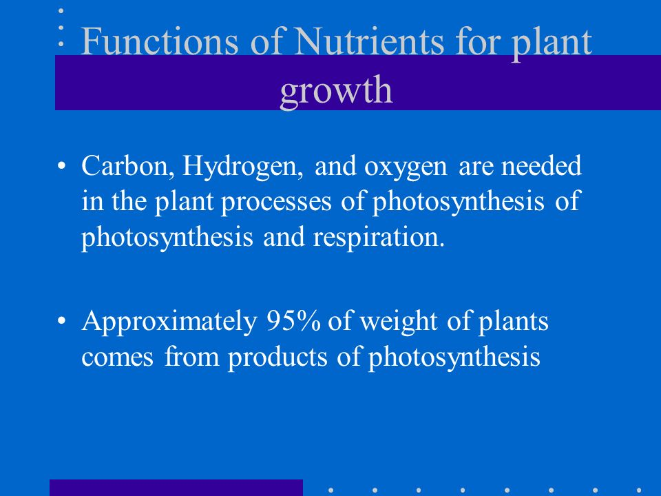 Functions of Nutrients for plant growth Carbon, Hydrogen, and oxygen are needed in the plant processes of photosynthesis of photosynthesis and respira