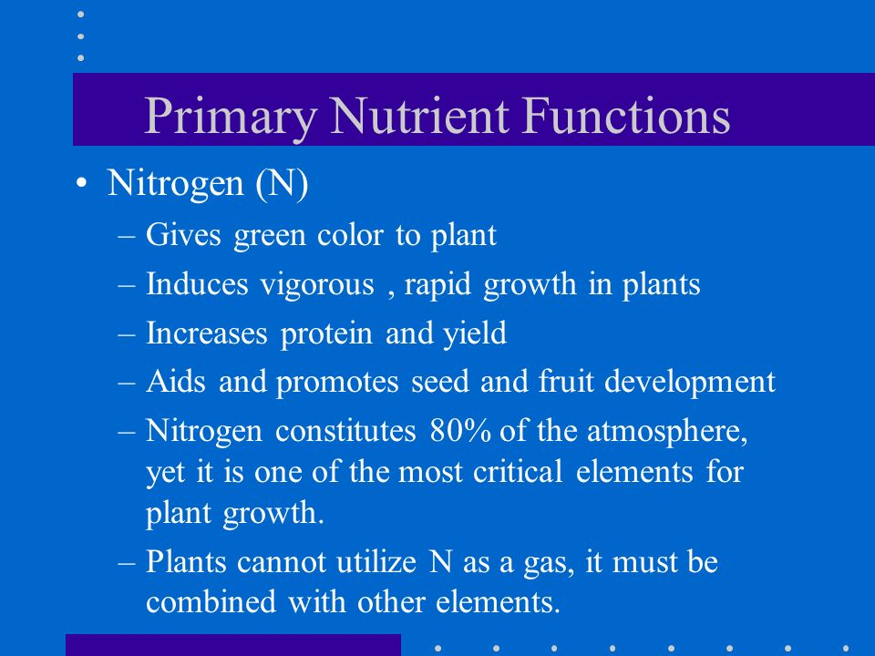 Primary Nutrient Functions Nitrogen (N) –Gives green color to plant –Induces vigorous, rapid growth in plants –Increases protein and yield –Aids and p