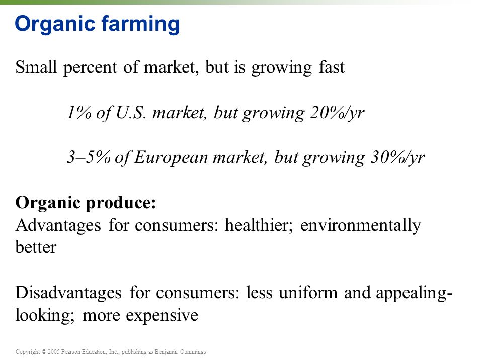 Copyright © 2005 Pearson Education, Inc., publishing as Benjamin Cummings Organic farming Small percent of market, but is growing fast 1% of U.S. mark
