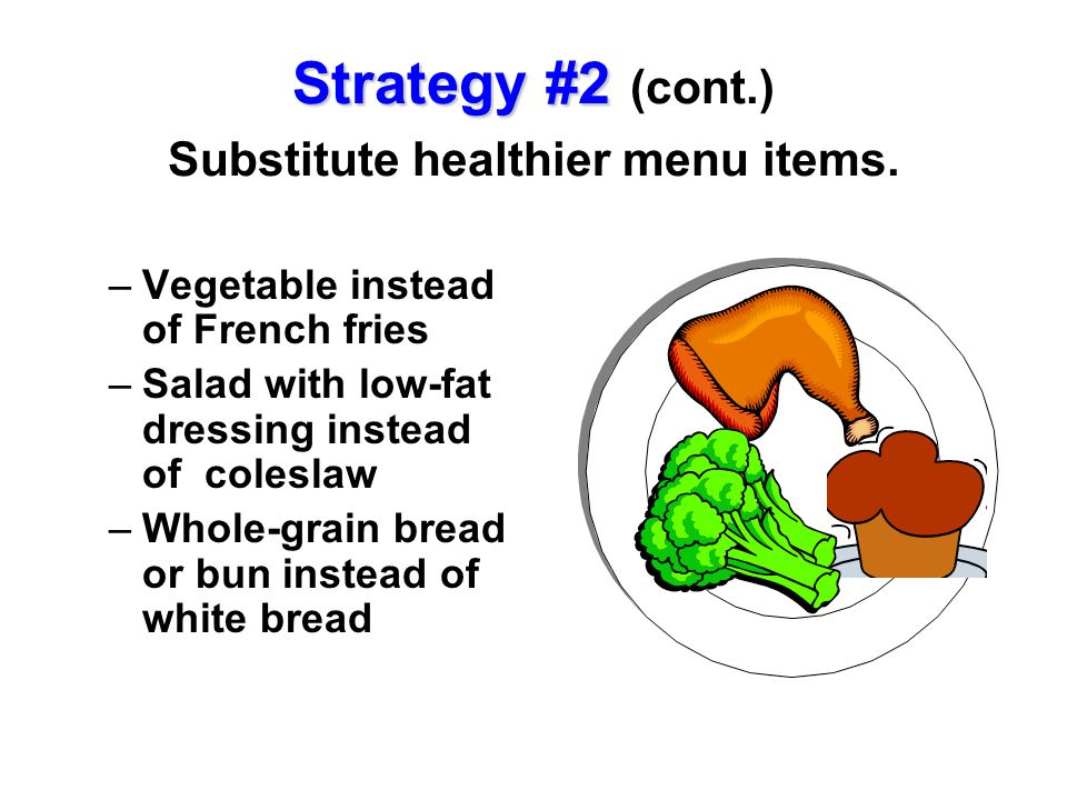 Strategy #2 Strategy #2 (cont.) Substitute healthier menu items. –Vegetable instead of French fries –Salad with low-fat dressing instead of coleslaw –
