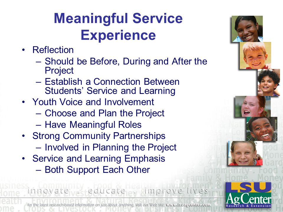 Meaningful Service Exercise Divide into Head, Heart, Hands and Health Groups Evaluate the Assigned Scenario Using the Meaningful Service- Learning Checklist.