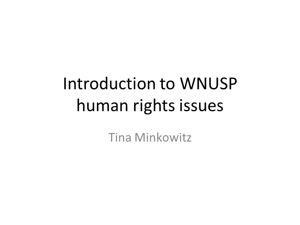 Introduction to WNUSP human rights issues Tina Minkowitz
