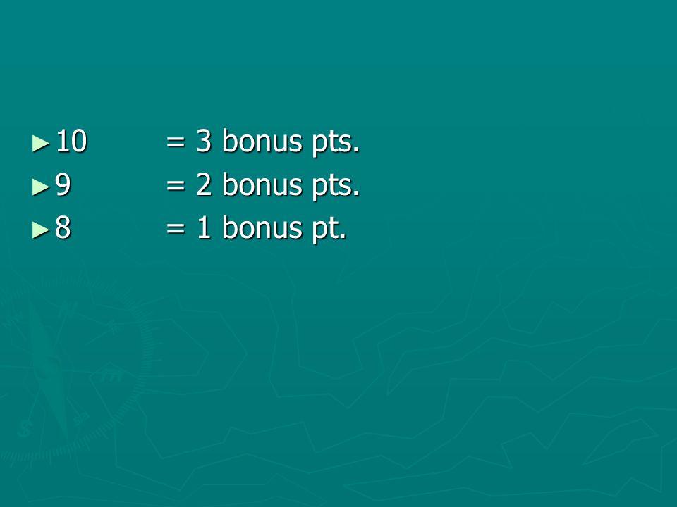 10= 3 bonus pts. 10= 3 bonus pts. 9= 2 bonus pts. 9= 2 bonus pts. 8= 1 bonus pt. 8= 1 bonus pt.