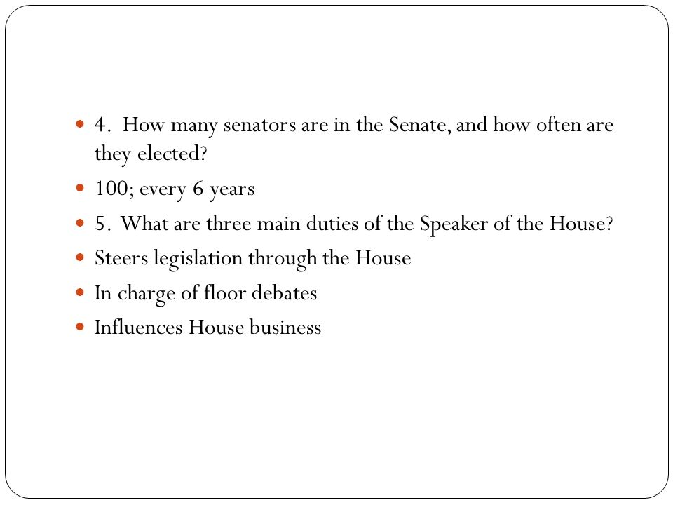 6. What is the purpose of Congressional committees? 7. How does the seniority system work?