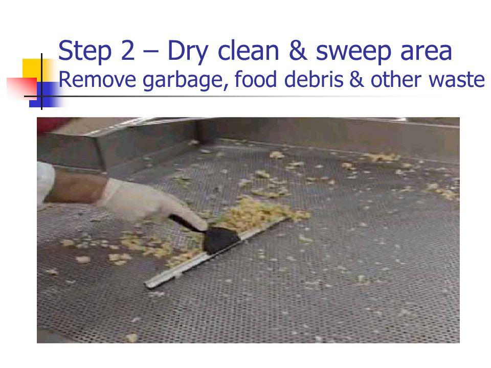 Step 2 – Dry clean & sweep area Remove garbage, food debris & other waste