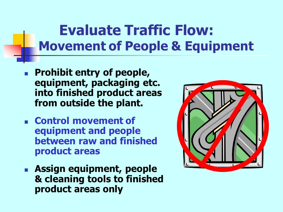 Evaluate Traffic Flow: Movement of People & Equipment Prohibit entry of people, equipment, packaging etc. into finished product areas from outside the