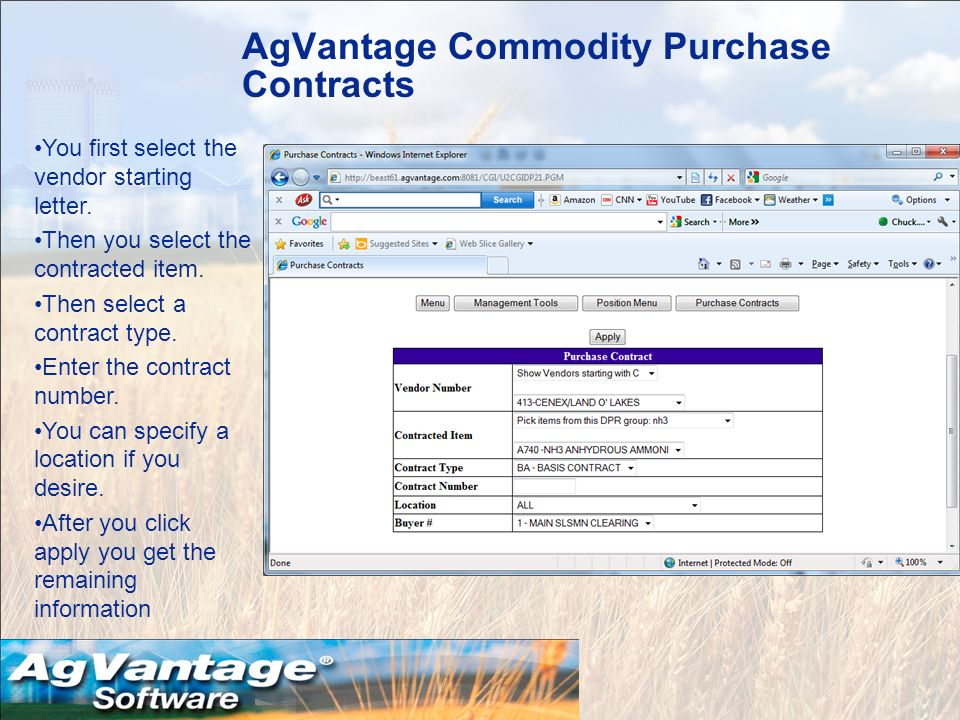 AgVantage Commodity Purchase Contracts You first select the vendor starting letter.