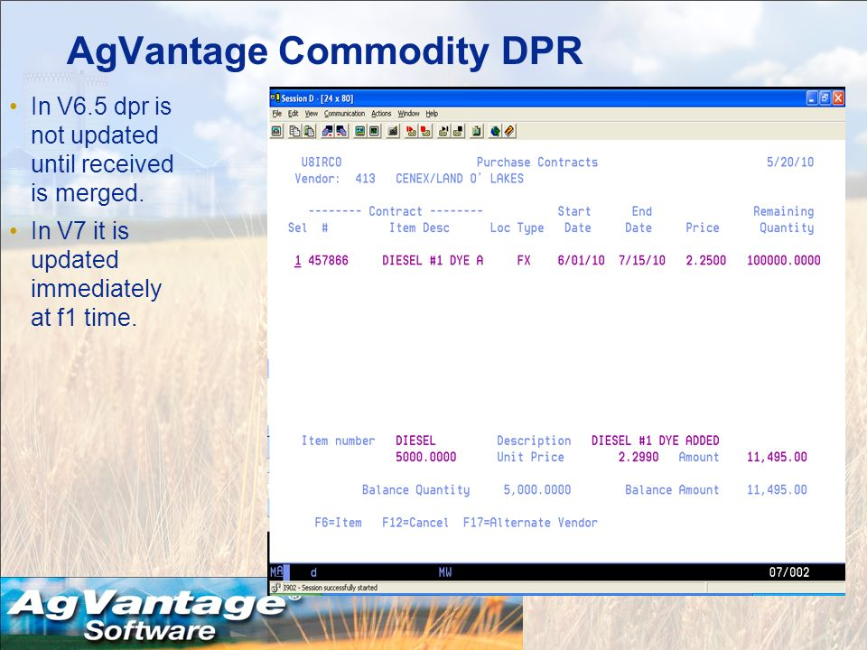 AgVantage Commodity DPR In V6.5 dpr is not updated until received is merged.