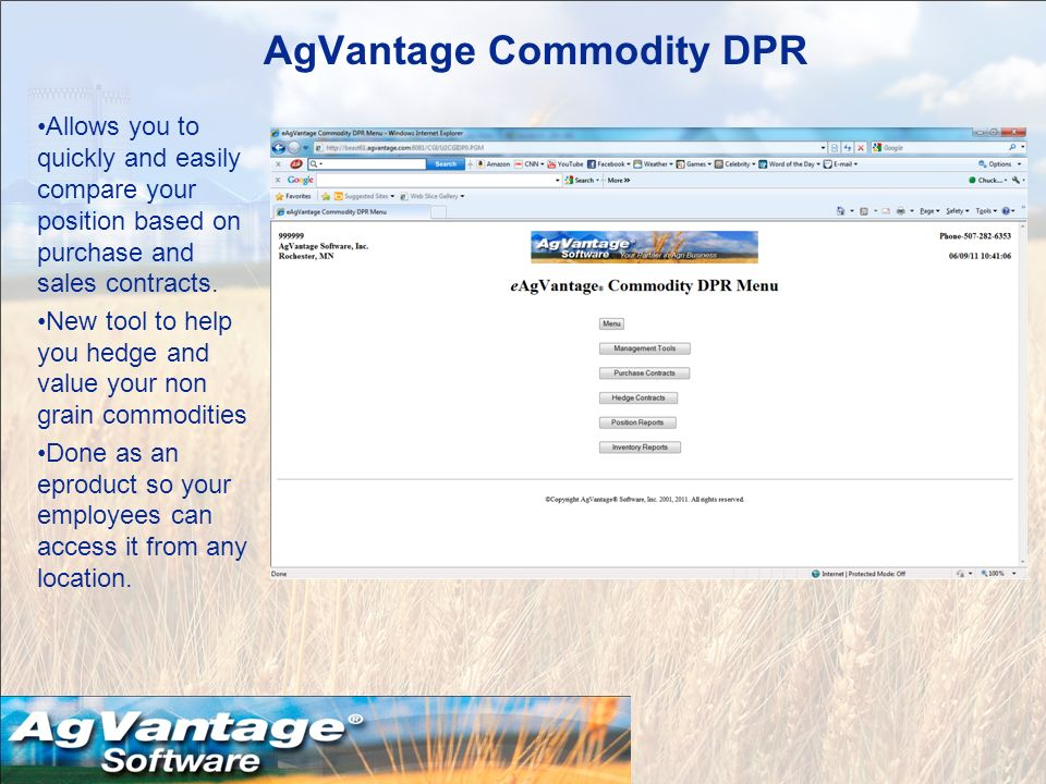 AgVantage Commodity DPR Allows you to quickly and easily compare your position based on purchase and sales contracts.