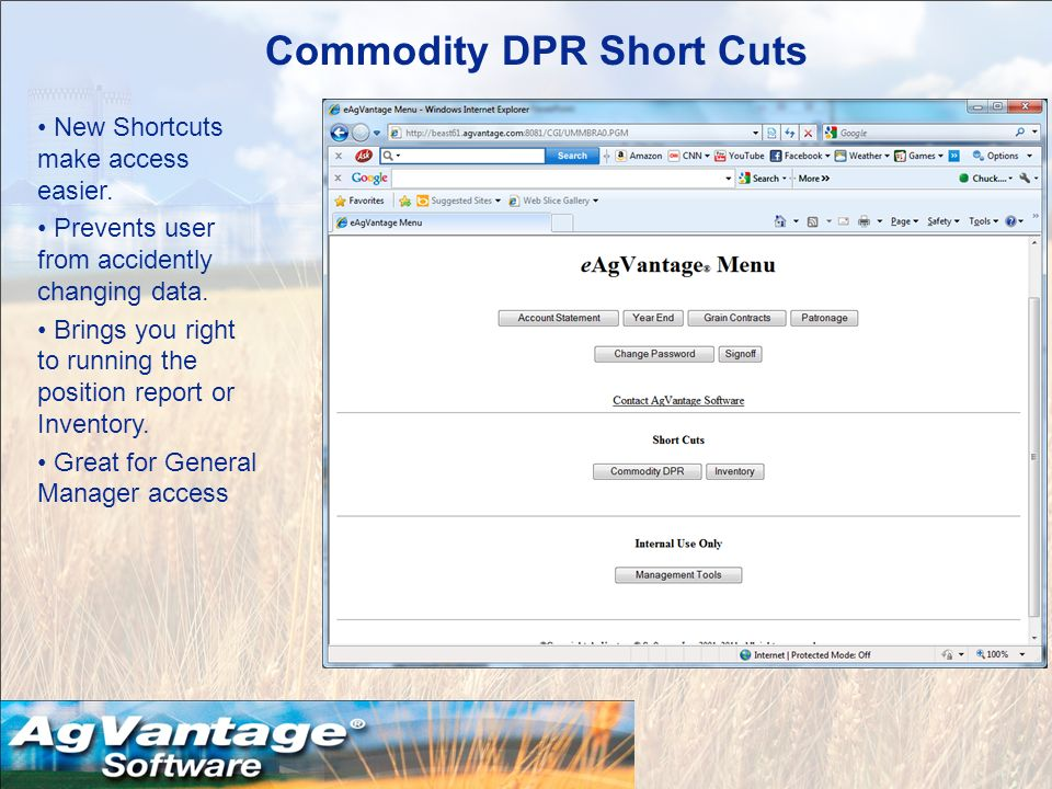 Commodity DPR Short Cuts New Shortcuts make access easier.