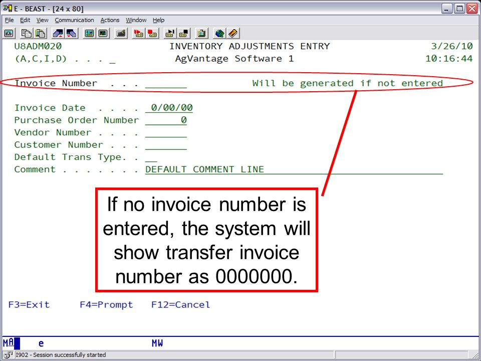 If no invoice number is entered, the system will show transfer invoice number as 0000000.