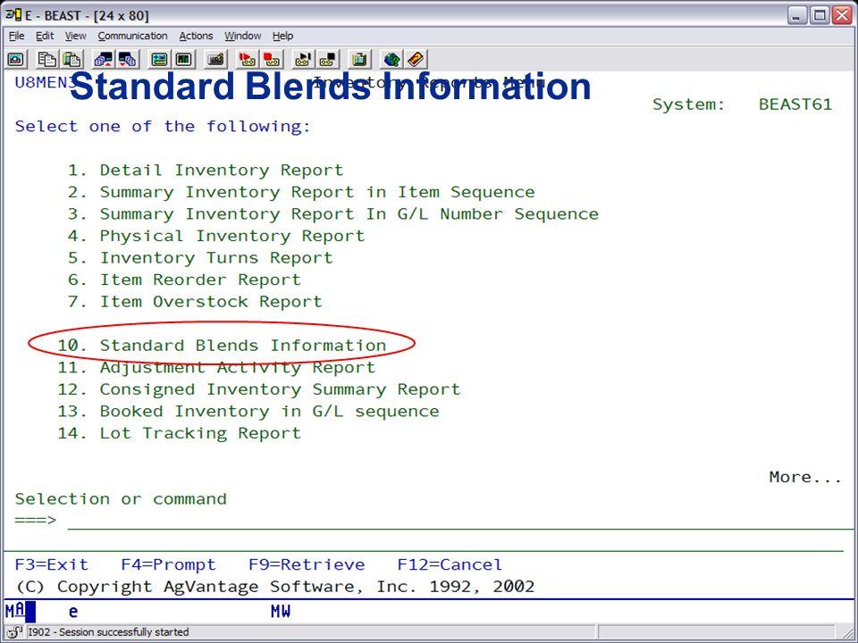 Standard Blends Information