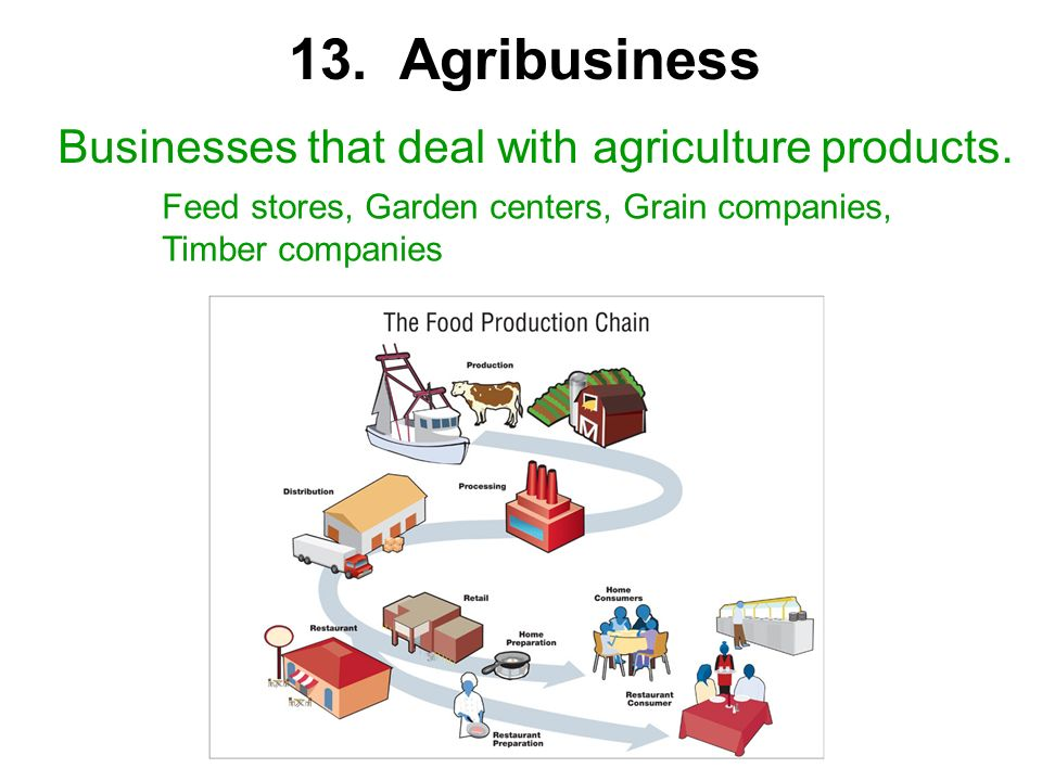 Businesses that deal with agriculture products. Feed stores, Garden centers, Grain companies, Timber companies 13. Agribusiness
