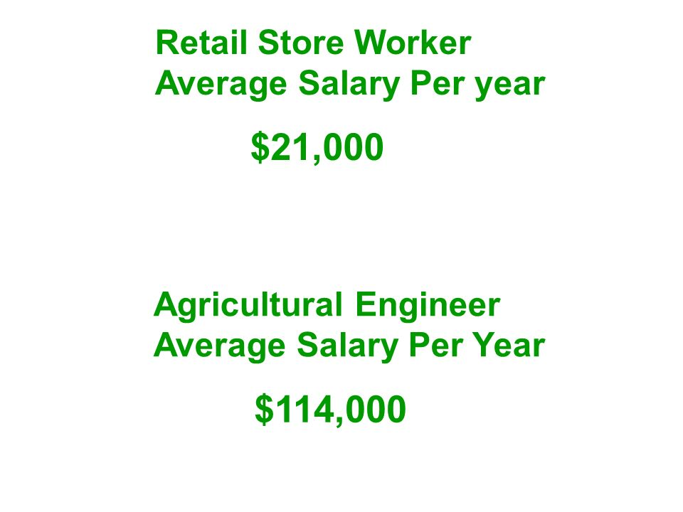 Agricultural Engineer Average Salary Per Year $114,000 $21,000 Retail Store Worker Average Salary Per year
