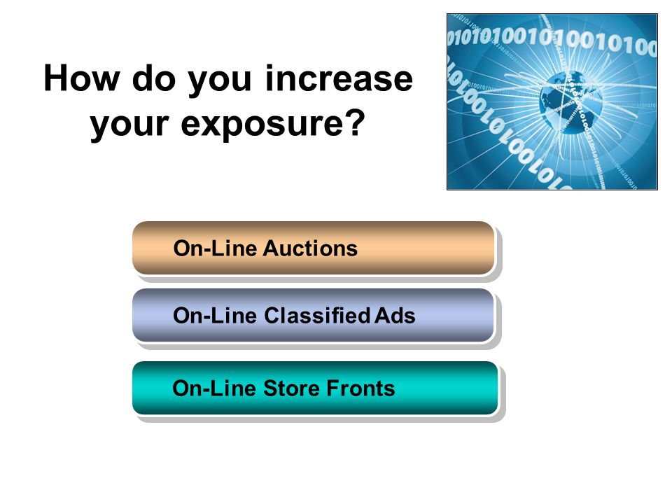 How do you increase your exposure? On-Line Auctions On-Line Classified Ads On-Line Store Fronts